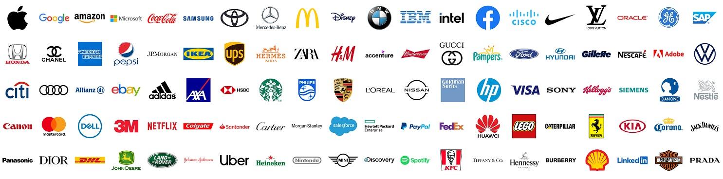 100 Top and most popular World brands. Logo Apple, Google, Amazon, Microsoft, Coca-cola, Samsung, Toyota, Mercedes, MacDonalds, Disney, BMW, IBM, Intel and more. Vector illustration